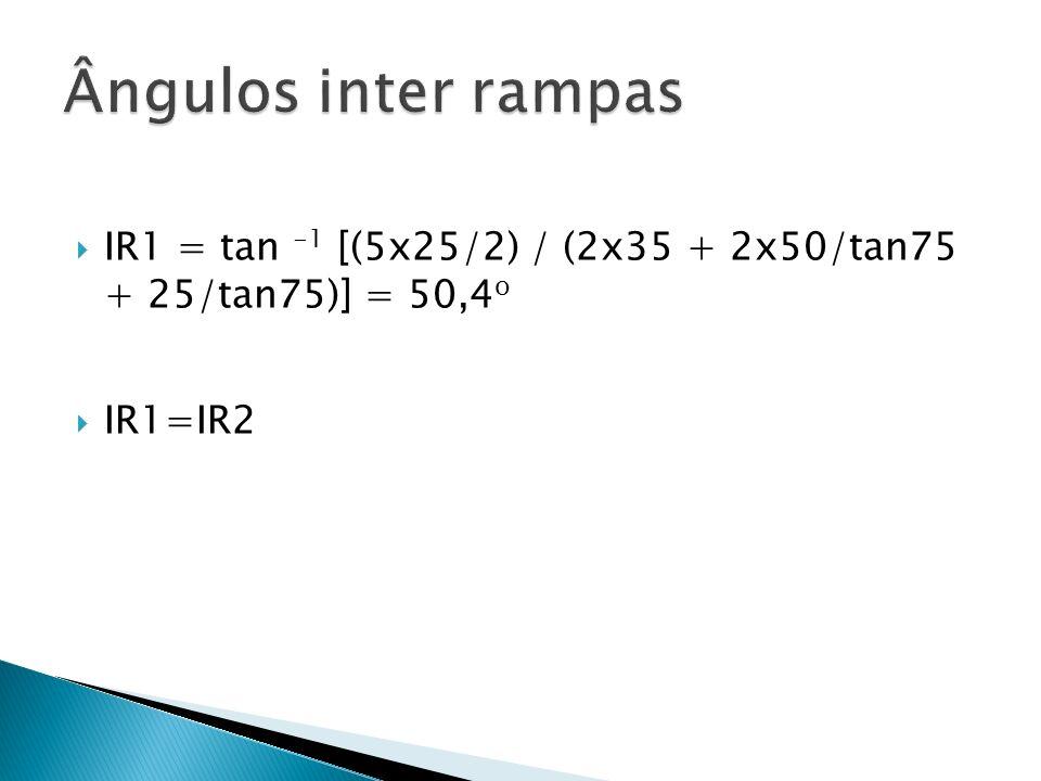 Ângulos inter rampas IR1 = tan -1 [(5x25/2) / (2x35 + 2x50/tan75 + 25/tan75)] = 50,4o IR1=IR2